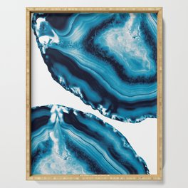 Blue Agate #3 #gem #decor #art #society6 Serving Tray