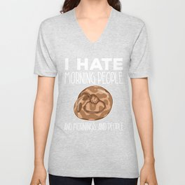 Yellow Ball Python Hate Morning People Snake Boa Constrictor Unisex V-Neck