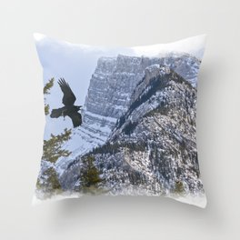 Mt Rundle & Raven (Canadian Rockies) Throw Pillow