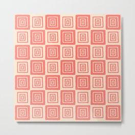 Mid Century Modern Geometric Checker 821 Coral and Beige Metal Print