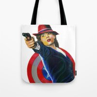 peggy carter Tote Bags featuring Peggy Carter by Farah Jayden