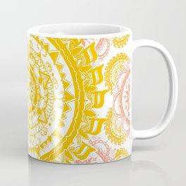 Citrus and Salmon Colored Mandala Textile Coffee Mug