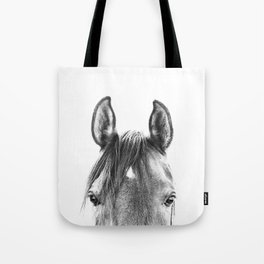 peekaboo horse, bw horse print, horse photo, equestrian print, equestrian photo, equestrian decor Tote Bag