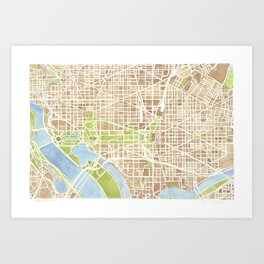 Washington DC watercolor city map Art Print