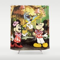 minnie mouse Shower Curtains featuring Mickey & Minnie Mouse In The Tiki Room by DisPrints