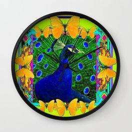 Chartreuse Wildlife Art Blue Peacock & Yellow Butterflies Art Wall Clock