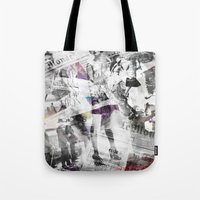 newspaper Tote Bags featuring Newspaper collage by Arken25