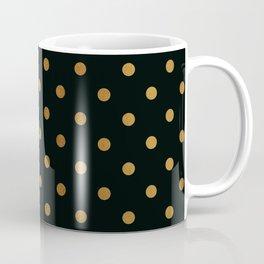 Gold polka dots on black pattern Coffee Mug