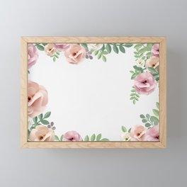 Pink Floral Watercolor Design Framed Mini Art Print