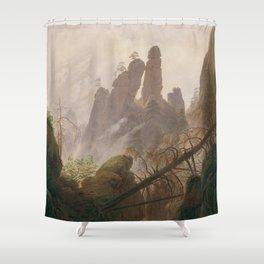 Caspar David Friedrich - Rocky Ravine in the Elbe Sandstein Mountains - Felsenlandschaft im Elbsands Shower Curtain