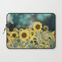 Sunflower Flower Photography, Yellow Teal Nature Turquoise Aqua Blue Green Laptop Sleeve