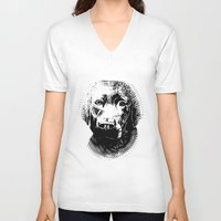 lab V-neck T-shirts featuring Black Lab by Animart