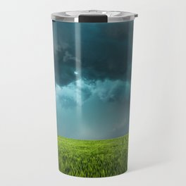 April Showers - Colorful Stormy Sky Over Lush Field in Kansas Travel Mug