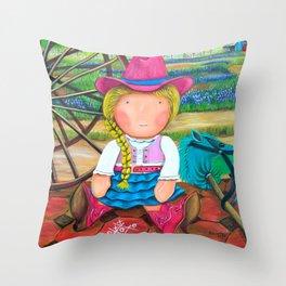 "Mia the ""Cowgirl"",Girl room Fine Art Print,Giclee Print,whimsical cowgirl, cowgirl, Mia collection Throw Pillow"