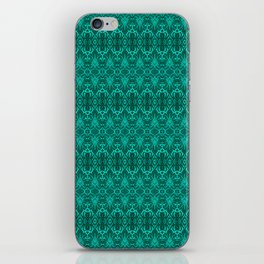 Cyan Damask Pattern iPhone Skin