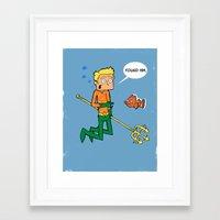 aquaman Framed Art Prints featuring Aquaman finds Nemo by Daniel Vernon
