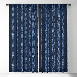 Indigo blue graphic herringbone stitch seamless pattern. Blackout Curtain
