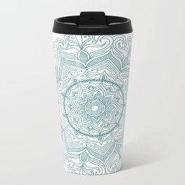 Teal Flower Mandala Metal Travel Mug