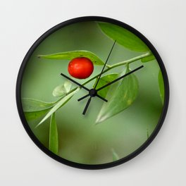 Red Berry Branch Plant Leaves Wall Clock