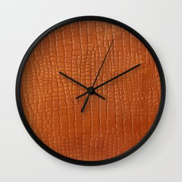 Brown faux crocodile leather texture Wall Clock