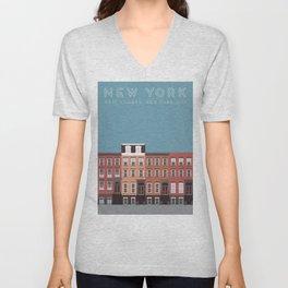 West Village NYC Travel Poster Unisex V-Neck