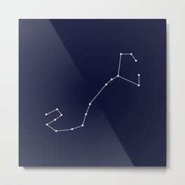 Scorpio Astrology Star Sign Blue Minimal Metal Print