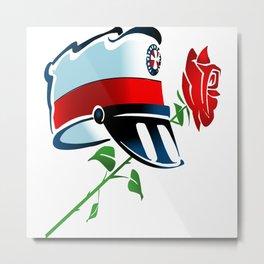 Hat Cap And Rose Metal Print