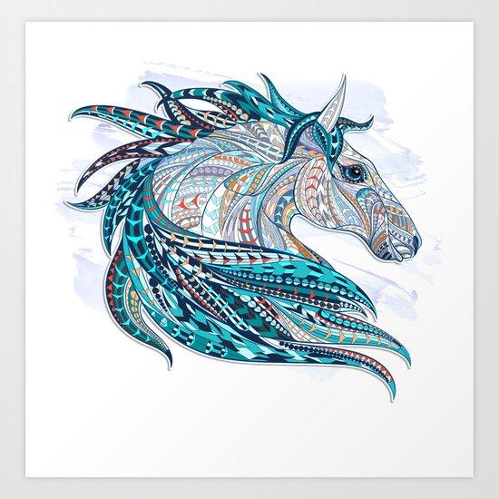 Blue Ethnic Horse Art Print