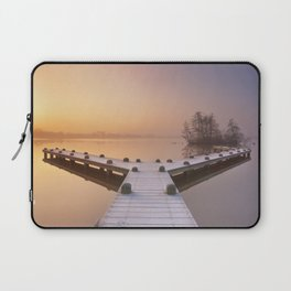 Jetty on a still lake on a foggy winter's morning Laptop Sleeve