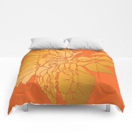 Golden Sunflower | Floral Illustration on Sunset Orange Comforters