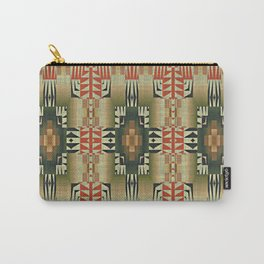 Orange Red Olive Green Native American Indian Mosaic Pattern Carry-All Pouch