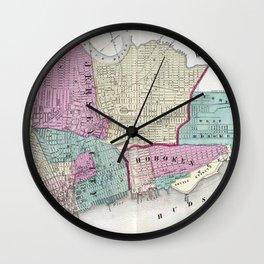 Vintage Map of Jersey City, Hoboken & Weehawken NJ Wall Clock