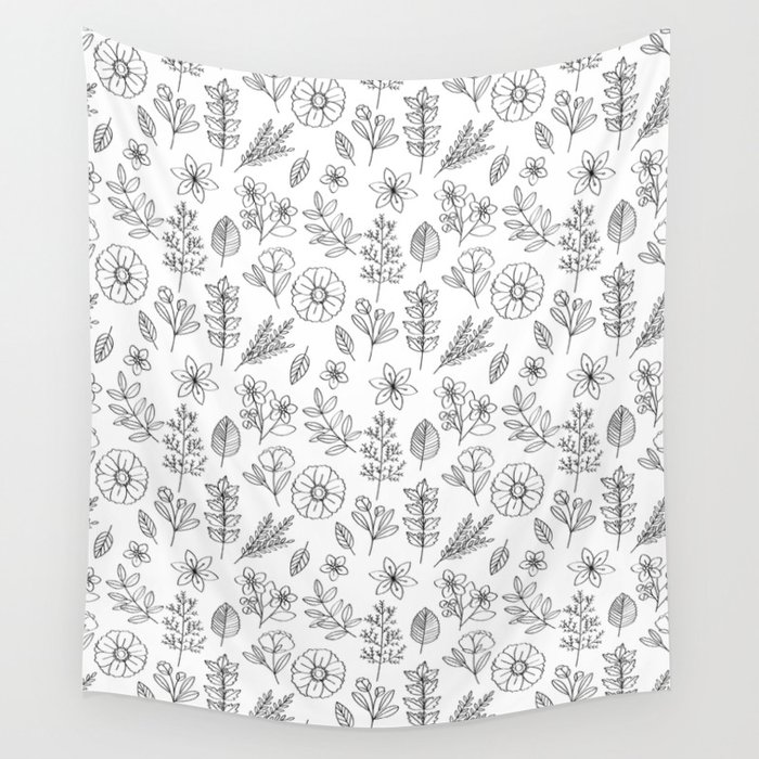 Hand drawn flowers pattern Wall Tapestry