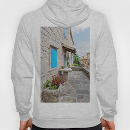 Town of Hum old cobbled street view Hoody