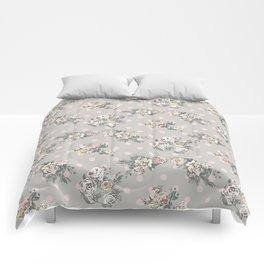 Vintage chic artistic pink ivory polka dots floral Comforters