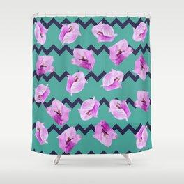 Floral Chevron Pattern Shower Curtain