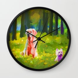 Two dogs in a wood Wall Clock