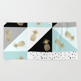 Pastel color block watercolor dots faux gold pineapple Beach Towel