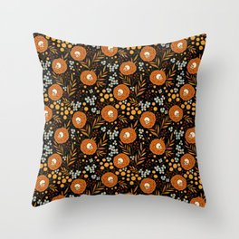 Halloween floral tattoo autumn pattern Throw Pillow