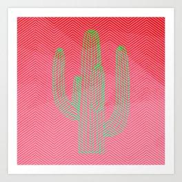 Deserted cactus - chevron pink Art Print