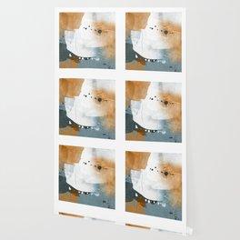 Abstract - Golden Depths 3 - Aqua and Gold Textured Design Canvas Print Wallpaper