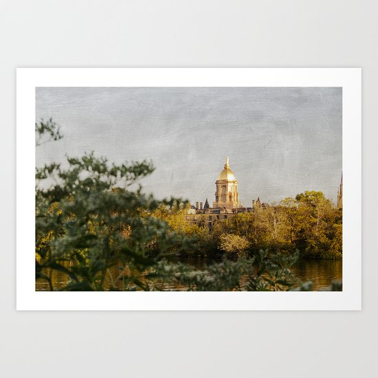 Notre Dame Across the Lake Art Print