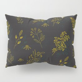 Thin delicate lines silhouettes of different plants. Pillow Sham