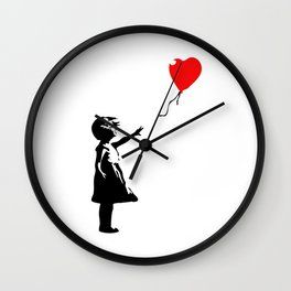 Banksy - Little girl with red balloon Wall Clock