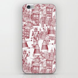 Doctor Who Toile de Jouy | 'Walking Doodle' | Red iPhone Skin