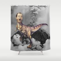 trex Shower Curtains featuring Bill Murray TRex by Kalynn Burke