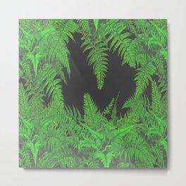 DECORATIVE CHARCOAL GREY GREEN FERNS GARDEN ART Metal Print