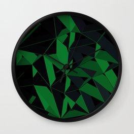 3D Futuristic Geometric Background (Green) Wall Clock