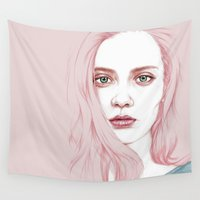 angelina jolie Wall Tapestries featuring GIRL by Laura O'Connor