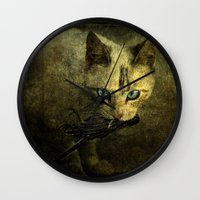 abigail larson Wall Clocks featuring Abigail with prey by AliceArtDotCom